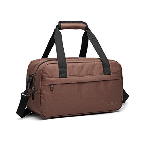 Kono Bolsa de viaje para equipaje de mano con correa para el hombro, ultra ligera, 35 cm, 250 g, 14 litros, Brown, 35cm (W) * 20cm (H) * 20cm (D),