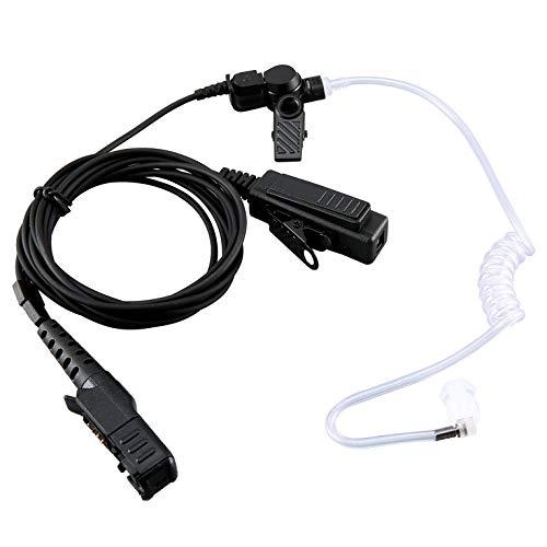 Tree-es-Life Micrófono de Auriculares PTT con Tubo de Aire de vigilancia Duradero para Motorola DP2400 XiR P6620 Radio bidireccional Walkie Talkie Negro