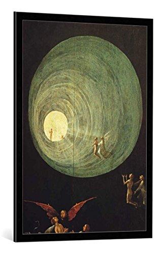 kunst für alle Bild mit Bilder-Rahmen: Hieronymus Bosch Der Aufstieg in das himmlische Paradies Detail - dekorativer Kunstdruck, hochwertig gerahmt, 70x100 cm, Schwarz/Kante grau