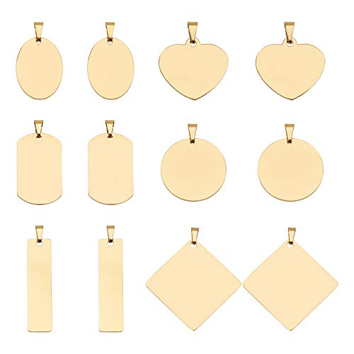 BENECREAT 12PCS Mixed Shape Stainless Steel Stamping Blank Tag, Round/Rectangle/Heart Pendants Charms with Plastic Storage Box for Necklace Bracelet Making and ID Name Tags
