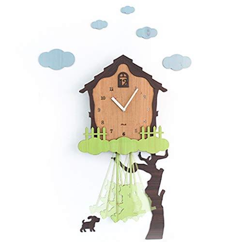 Reloj de pared creativo Reloj de pared silenciosa for no tictac - 12 pulgadas de árbol, con Péndulo, fácil de leer Perfecto for el hogar / oficina, decorativo interior, con pilas Decoraciones de inter