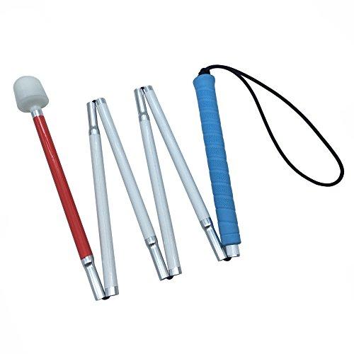 VISIONU Aluminio Baston Blanco para Ciegos y Baja Vision Plegable, 6 Secciones (135 cm (53.1 Pulgada), Mango de Azul) 🔥