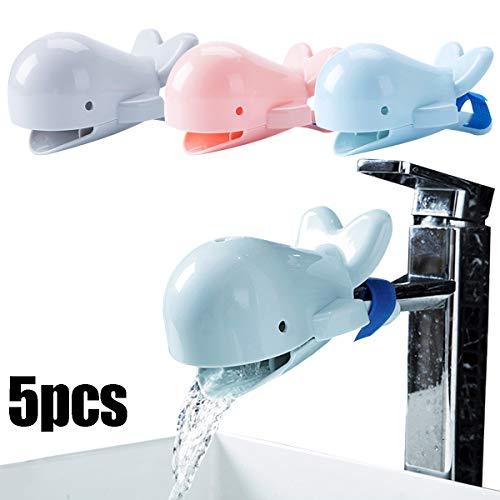 Zuzer 5 stks Kraan Extender voor Kinderen wastafel Extender Kraan Extender Water Kraan Walvis Extenders voor Kraangewassen Spoelbak voor Badkamer Keuken