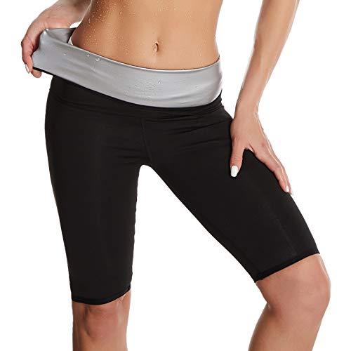 Pantalones para Sudoración Neopreno Mujer Pantalones Sauna Pantalón de Sudoración Leggins Termicos Cintura Alta para Deporte Jogging Yoga Gym (Cortos, L)