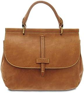 GIUDI ® - Borsa Donna in pelle vacchetta nuvolata, borsa a mano, tracolla, vera pelle, Made in Italy. (Marrone)