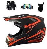 Senhill DOT Motocross Helmet Unisex Offroad Helmet Dirt Bike ATV Motorcycle Helmet with Gloves Goggles Mask (Red, M)