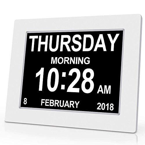 Digitale wekker - Alzheimer's wekker, LCD wekker Draagbare Ultra Slim Design Travel Tafelblad Visuele beperking, met Kalender Datum Week(Voor ouders)