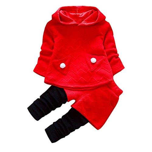 Kobay Kleinkind Kinder Baby Mädchen Outfits Lange Ärmel Kapuzen-T-Shirt Tops + Hosen Kleidung Set (80/1Jahr, Rot)