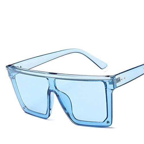 PrittUHU Gafas de Sol de gradiente Multicolor de Gran tamaño Mujeres 2021 Luxury Outdoor Beach Ladies UV400 Gafas de Sol (Lenses Color : Blue Blue)
