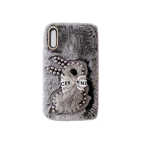 YHY A02 Estuche Teléfono Móvil Estilo Lindo 3D Perla Linda Peluche De Conejo para Samsung Galaxy A02 Gris Oscuro