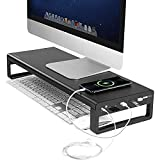 Vaydeer monitor stand with 3 USB 3.0 hubs and 1x3.5mm audio port for connecting headsets or ...