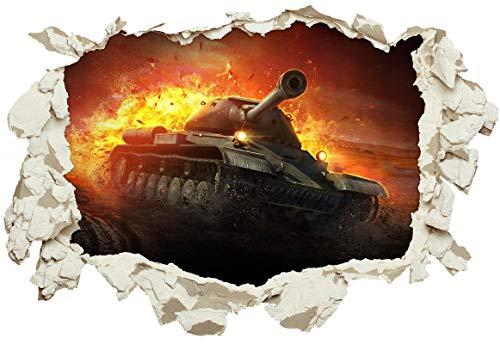 Unified Distribution World of Tanks Panzer - Wandtattoo mit 3D Effekt, Aufkleber für Wände und Türen Größe: 92x61 cm, Stil: Durchbruch