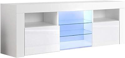 MODAA Modern High-Gloss UV Finish RGB LED TV Stand, High-Tec Remote Control 4 Flashing Modes Design Tempered Glass Shelf TV Cabinet Television Entertainment Furniture