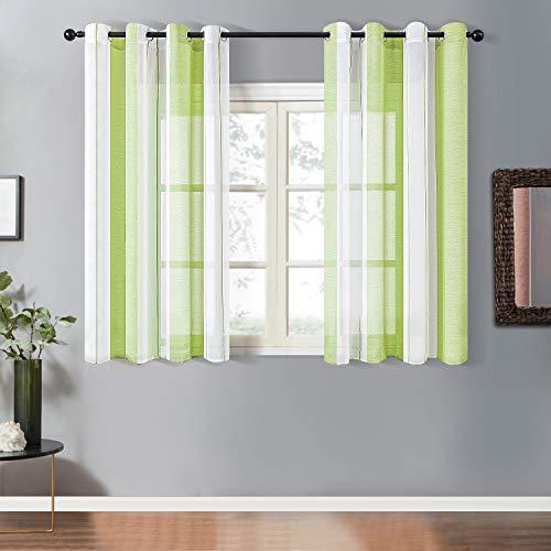 Topfinel Transparente Ösenvorhänge Voile Gardinen mit Schmalen Streifen Dekoschal für Wohnzimmer und Schlafzimmer Fenster 2er Set je 160x140cm (HxB) Hellgrün