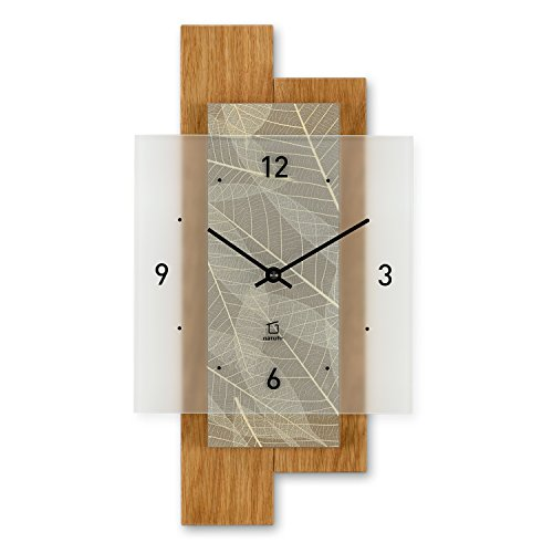 NatUhr Scout wall clock - Solid Oak and Designer Surface made with real fern leaves - Made in Germany by NatUhr