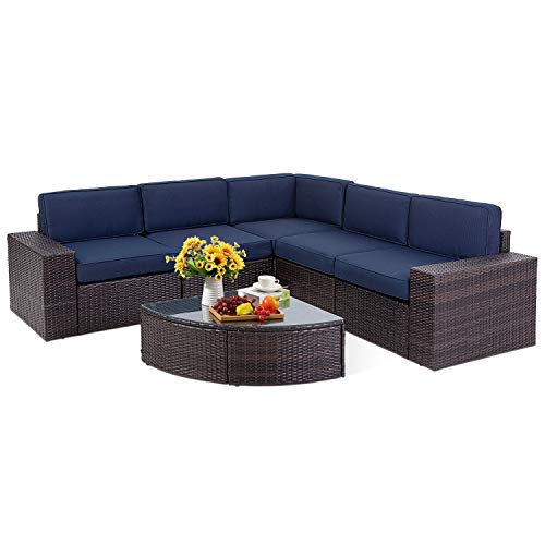 SOLAURA Outdoor Patio Furniture Set 6-Piece Wicker Furniture Modular Sectional Sofa Set Brown Wicker & Sophisticated Sector Glass Coffee Table (Navy Blue)