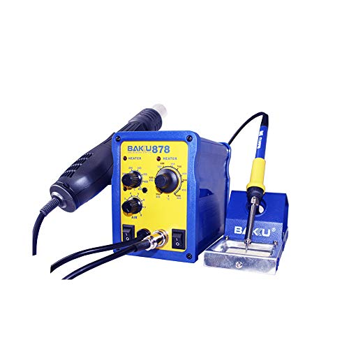 BAKU 878 Estación de Soldadura y Pistola de Aire Caliente (750W, Aire Máx 120L/min, Soldador, Decapador, Pantalla LED, Control Temperatura) - Azul