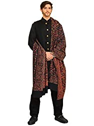 Pashtush Mens Fine Woven Wool Kaani Shawl (Black, X-Large)