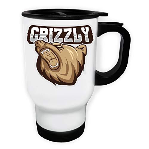 Grizzly Bear Badge Tasse de voyage thermique blanche 14oz 400ml gg717tw