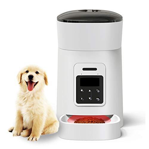 4 Dispensador de alimentos inteligente para mascotas l, seis botones, grabador pantalla LCD pulgadas, tiempos reproducción, temporización grabación voz programable, diseño anti-obstrucción, el hogar
