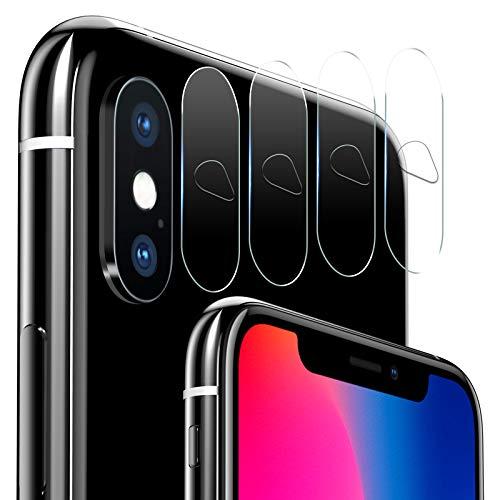 iVoler [4 Pack] Protettore Lente Fotocamera Posteriore per iPhone XS Max/XS/X, Pellicola Vetro Temperato Film Protezione dell' Obiettivo della Fotocamera per iPhone XS Max/XS/X