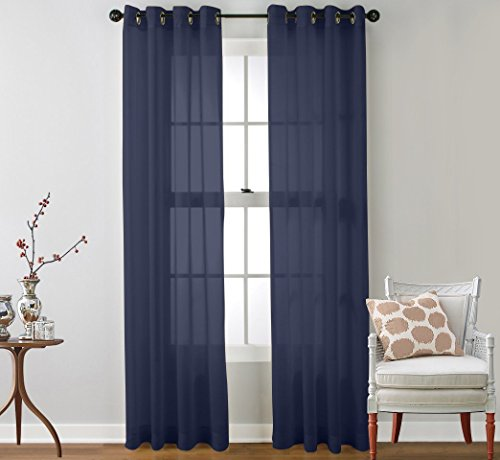 """Ruthy's Textile 2 Piece Window Sheer Curtains Grommet Panels 54"""" X 84"""" Total 108"""" X 84"""" Inch Length for Bedroom/Living Room Color: Navy"""