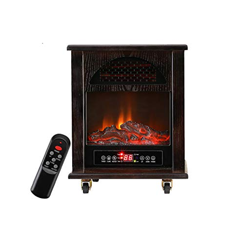 KOOLWOOM Portable Electrci Space Heater Infrared Zone Heating Systems with Thermostat for Office and Home,Tip-Over and overheat Protection Remote Control 12hr Timer & Filter 750W-1500W Dark Walnut Heater Infrared Space