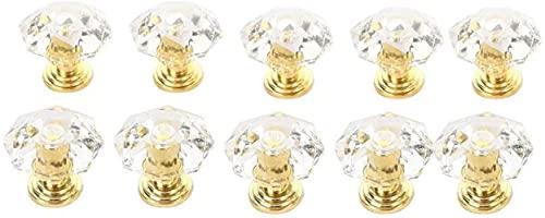 DZCGTP Manijas de Puerta Manijas de gabinete Perillas de Cristal acrílico Manija de Tirador de cajón de Armario Perilla de Puerta Perilla de gabinete en Forma de Diamante Muebles