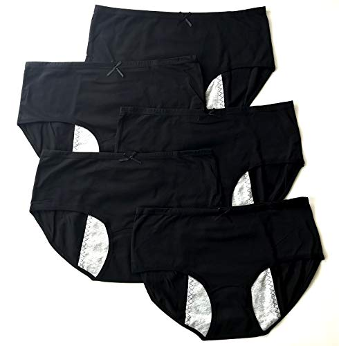 Luna Cup Menstrual Underwear Breathable Period Panties Postartum Inconvience Panty, Pack of 5, for Women Girls (S/M, 5 Black)