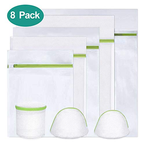 KYG Wäschenetz 8 Stück Wäschesack Set mit reißverschluss Wäschebeutel für Waschmaschine, Unterwäsche, Babywäsche, Strümpfe,Socken USW Grün