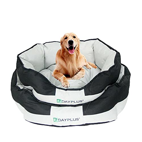 Oval Dog Bed Cushion Medium Waterproof Dog Bed 60x 50x 23cm Nesting Style Pet Bed with Washable & Reversible Cover for Small Dogs Cats Soft Pet Bed Sofa Black with Grey
