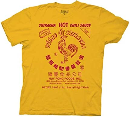 Ripple Junction Sriracha Hot Sauce Adult Unisex Label Red Ink Heavy Weight 100 Cotton Crew T product image