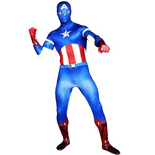 FYBR - Costume da Capitan America, in Lycra, per Adulti, Unisex, per Uomo e Donna, M