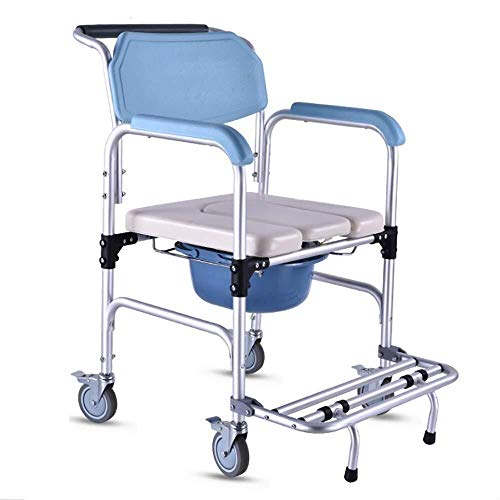Bathroom Wheelchairs RRH Bedside Commodes 4 in 1 Multifunctional Portable Bidet Chair, Shower Chair with Wheels, for Elder Pregnant Woman, Disabled People Toilet Chair