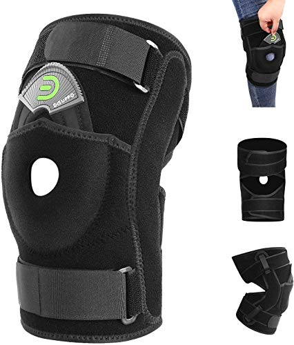 DISUPPO Knee Braces for Knee Pain, Hinged Knee Brace with Side Stabilizers, Adjustable Open Patella for Sports Trauma, Sprains, Arthritis, ACL, Meniscus Tear, Ligament Injuries Compression Recovery