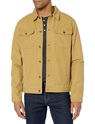 Quiksilver Herren Tradie Canvas Button Down Jacket Daunenalternative, Mantel, British Khaki, Medium