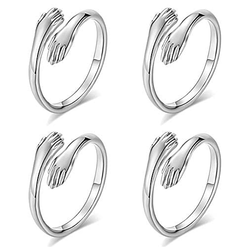 4 piezas abrazando manos anillos de plata manos abrazan anillos abiertos ajustables pareja abrazo anillos románticos amante