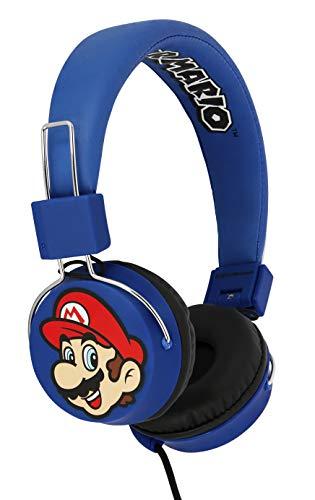 OTL Technologies - Auriculares con Cable Azules Super Mario y Luigi Multiplataforma (Nintendo Switch), Super Mario Azul