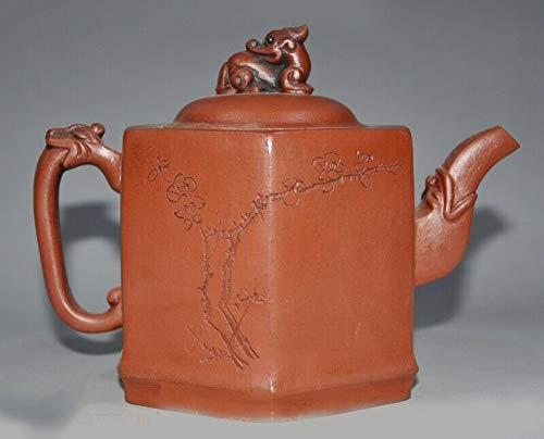 "SIYAO Wedding Decoration China Yixing zisha Pottery ""鳴遠"" Master Carved Flower Beast Teapot Pot Tea Maker"