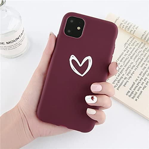 LIUYAWEI Carcasa de teléfono con patrón de corazón de Amor de Dibujos Animados para iPhone 11 Pro MAX X XS MAX XR 7 8 6 6S Plus 5 5S SE 2020 Contraportada de TPU Suave, T3, para iPhone 7