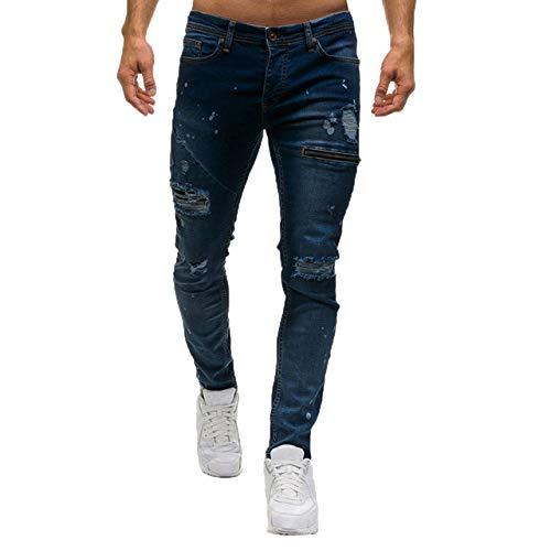 Loeayers Pantalone Joggers in Jeans Uomo Skinny alla Moda con Cerniera Fori Casuali Pantaloni Slim Fit in Denim Pantaloni Elastici in Vita Pantaloni da Jogging Uomo