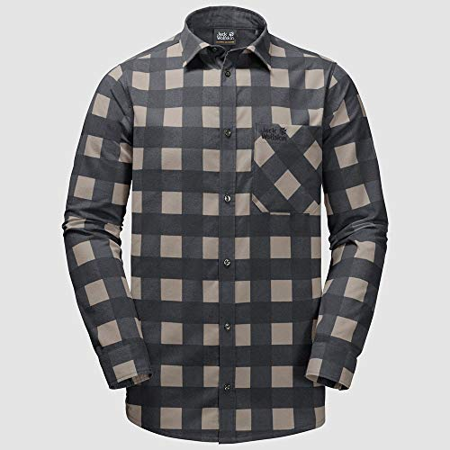 Jack Wolfskin Red River Shirt Homme Phantom Checks FR: L (Taille Fabricant: L)