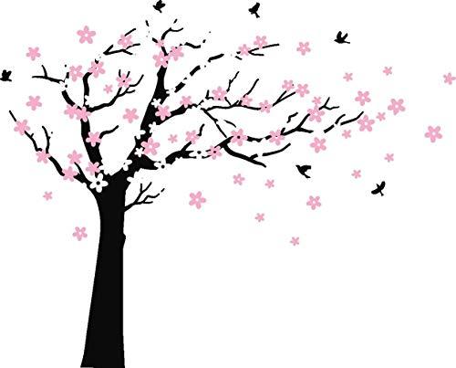 Bdecoll Wandaufkleber Kirschbaum Weiß Baum Wandsticker für Kinder Schlafzimmer/Natur Vögel Art Dekor Heim Bunt aufkleber,Aufkleber/Sticker,Vinyl, für Kinderzimmer (Schwarz)