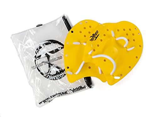 SWIMXWIN Palas profesionales de forma ergonómica para entrenamiento de natación y piscina, con goma elástica (amarillo, medio)