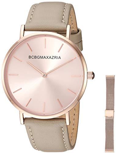 BCBGMAXAZRIA Women's Stainless Steel Japanese-Quartz Watch with Leather Strap, Beige, 17.1 (Model: BG50669002)