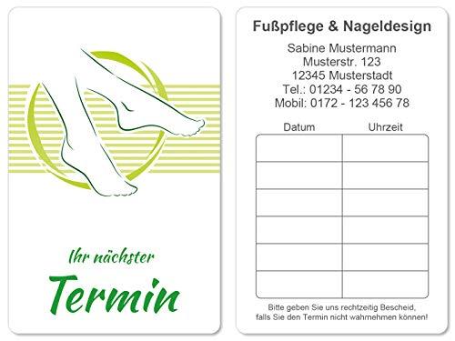 100 Terminkarten bedruckt mit Ihrer Adresse für Pediküre Fusspflege - Kein Stempel notwendig - Inkl. Kartenspender