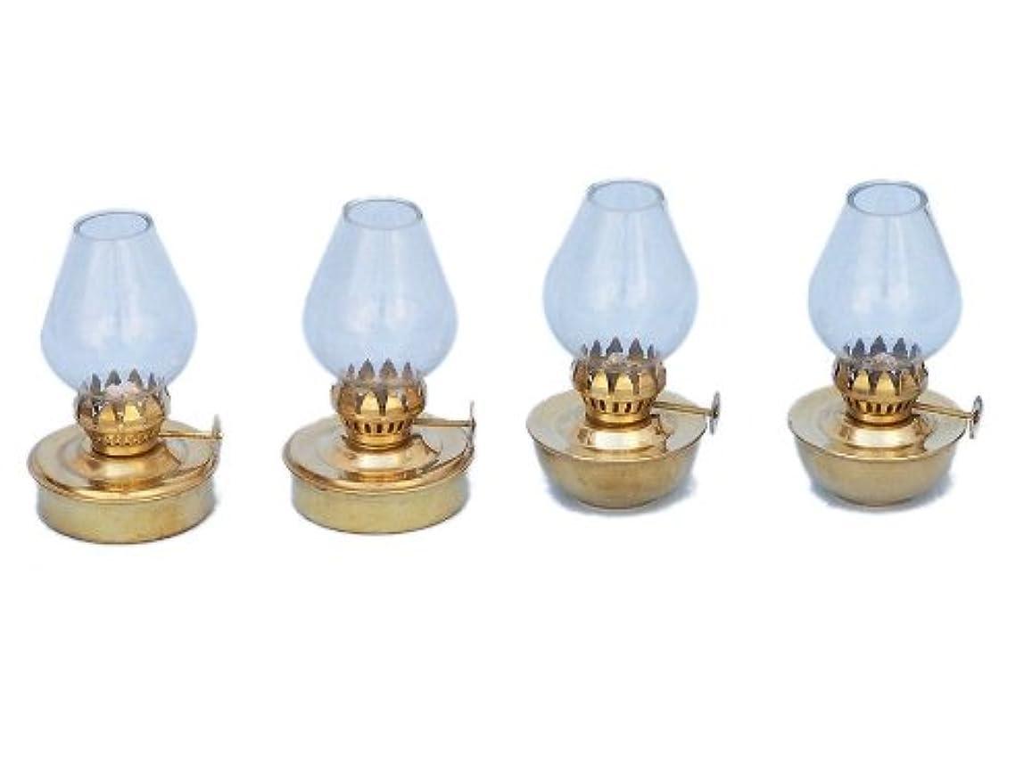 十マニュアル優れましたHampton Nautical ソリッド真鍮テーブルオイルランプ 5インチ 4個セット 真鍮