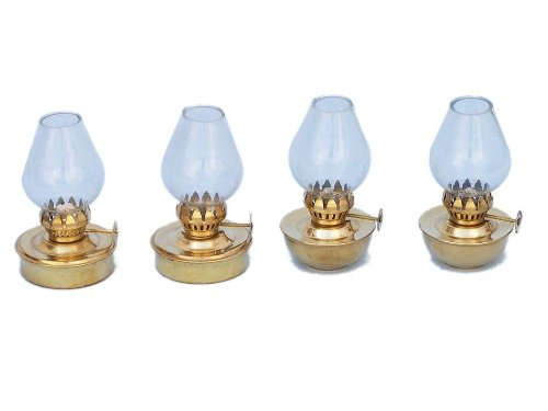"Hampton Nautical  Solid Brass Table Oil Lamp, 5"", Set of 4, Brass"