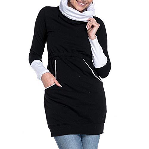 SANFAHSION Sweat Longue de Maternité,Manche Longue de Grossesse Blouse d'allaitement Brassière Top Col Haut Mode Vêtement Slime Shirt Chaud Confortable(Noir,S)