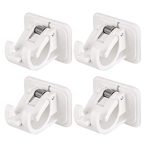 4pcs Self Adhesive Curtain Rod Bracket, Drapery Hook Holders, No Drill Curtain Rod Brackets, Fixing Rod Holder, Curtain Pole Wall Brackets Towel Rod For Hanging Net Curtain, Voile, Coat